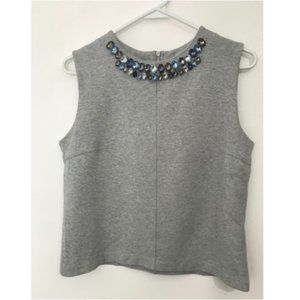 Club Monaco Jersey Knit Embellished Neckline Tank Top